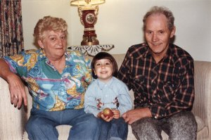 Me with my grandma, Theresa, and grandpa, Angus. 1996